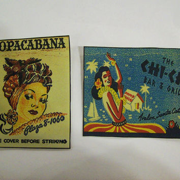 retro matchbook patches vintage 1950's pin up girl hula dancer rockabilly sew on patch