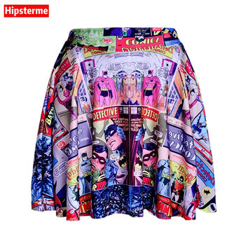 Hipsterme Skirts Plus Size Sexy Women's Summer The batman comic Skirts 3D Digital Printing Skirts