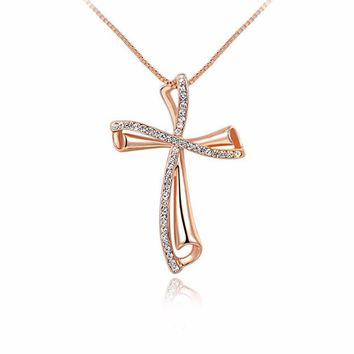 Crystal Necklaces for Women Plated Rose Gold Chains Women Gold Cross Necklace