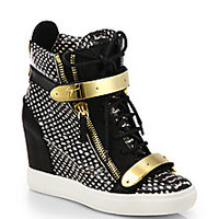 Giuseppe Zanotti - Snake-Print Leather Wedge Sneakers - Saks Fifth Avenue Mobile