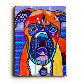 Colorful Boxer by Artist Heather Diamond Wood Sign
