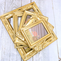 Gold Picture Frames - SHABBY CHIC Gold Frames, Wedding Frames - Set of 5 in Metallic Gold
