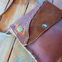 Hand made leather bag with tourquise | sunnylagos - Bags & Purses on ArtFire