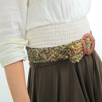 Vintage 70s Boho Metallic Tapestry braided belt