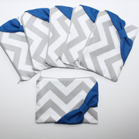 Bridesmaid Gift / Bachelorette Favors - Set of Eight (8) Cosmetic Cases / Zipper Pouches - Gray Chevron with Royal Blue Bow
