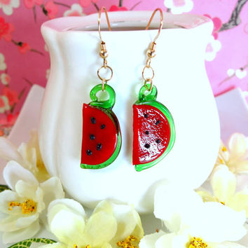 Glass watermelon dangle gold filled earrings