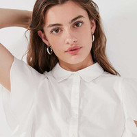 Ecote Poplin Button-Down Ruffle Sleeve Top | Urban Outfitters
