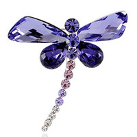 Synthetic Tanzanite Purple Abstract Dragonfly Body Swarovski Crystal Rhinestone Pin Brooch