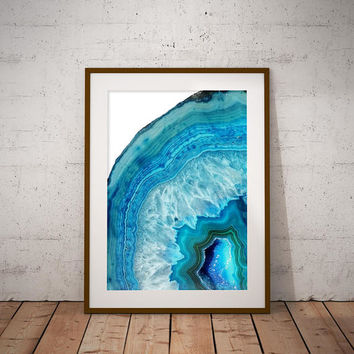 Blue Geode Printable Art Print, Agate Crystal Art Print, Crystal Wall Art, Boho Wall Art, Rock Print, Gem Mineral Art, Mineral Photography