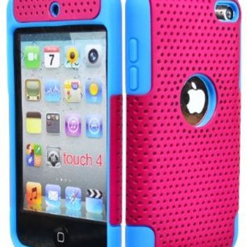 iPod Touch 4 Case, Bastex Hybrid Soft Sky Blue Silicone Cover Hard Hot Pink Mesh Design Case for iPod Touch 4