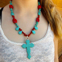#Turquoise and #Red #Chunky #Cross #Necklace #country #cowgirl #jewelry