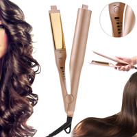 2 In 1 Ceramic Hair Curler Straightener Styling Curlers Irons Gold