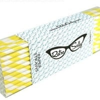 "Paper Straws 8"" - Pack of 50 Yellow Stripe by Retro Sally"