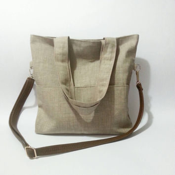 Crossbody bag, beige, foldover bag, shoulder bag, cotton bag, large bag, leather shoulders adjustable, crossbody purse, casual, diaper bag