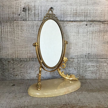 Mirror Vintage Brass and Marble Vanity Hollywood Regency Shaving Mirror Magnifier Tilting Mirror Art Nouveau Vanity Mirror Stand