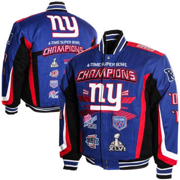 New York Giants 4X Super Bowl Champions Commemorative Twill Full Button Jacket - Royal Blue/Red
