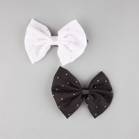 Full Tilt 2 Piece Speckled Bow Hair Clips Black/White One Size For Women 22419112501