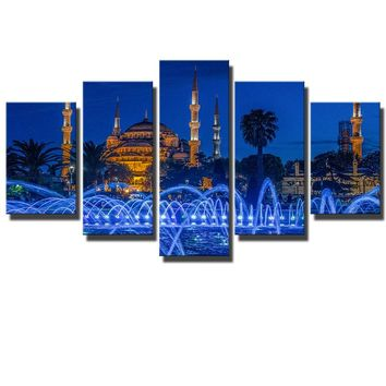 5 Piece canvas Art Islamic Mosque Wall Art Pictures