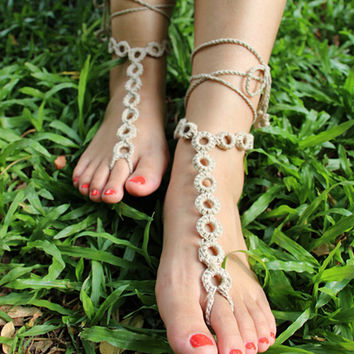 Handmade Crochet Barefoot Sandals ,Nude shoes, Foot jewelry, Wedding, Victorian Lace, Sexy, Yoga, Anklet , Bellydance,Steampunk, Beach Pool,Ethnic,Gift-11
