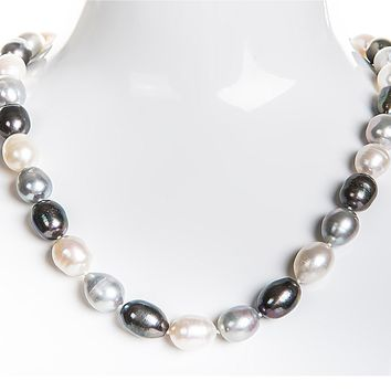 Single Strand Rice Shape Multi-Color Freshwater Pearl Necklace 11mmx13mm