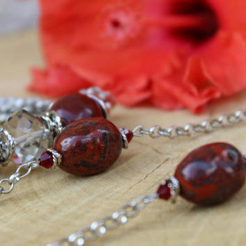 Natural Red Jasper Necklace Set, Chakra Necklace Set, Red Necklace Set, Red Jasper Bracelet, Red Jasper Earrings, Deep Red Jewelry Set