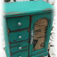 Shabby chic jewelry box, Distressed jewelry box, rustic jewelry box, teal jewelry box, painted furniture, girls gift idea, small jewelry box