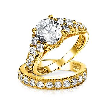3CT Solitaire CZ Engagement Ring Set 14K Gold Plated Sterling Silver