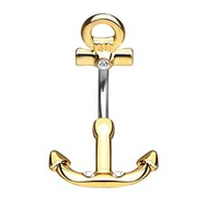 BodyJ4You Nautical Anchor Belly Button Ring Non Dangle Goldtone