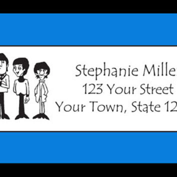 30 Personalized BEATLES CARTOON Return ADDRESS Labels - Buy any 5 Sheets, get 6th Sheet Free! Custom Beatles Labels Return Labels