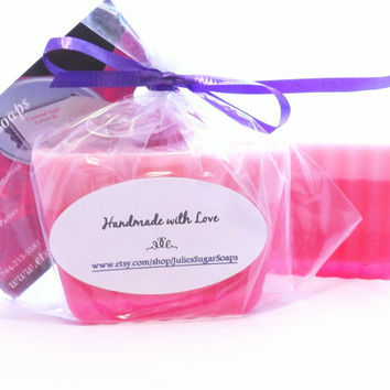 Pink Soaps; 25 Bulk Favors for Weddings, Bridal Shower, Breast Cancer Fundraiser, Baby Shower; Natural Glycerin, Personalized Custom Labels