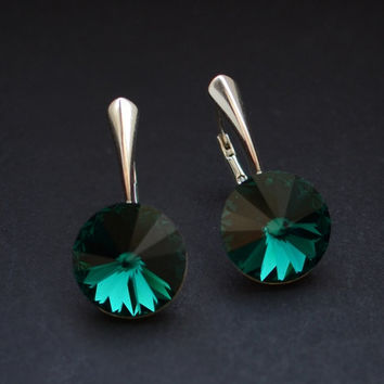 Swarovski Emerald green rivoli dangle earrings / Dark green crystal earrings / Sterling silver emeraldcrystal dangle earrings