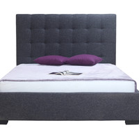 Belle Storage Bed Queen Charcoal Fabric 100% Polyester Upholstery Solid Pine Wood Frame