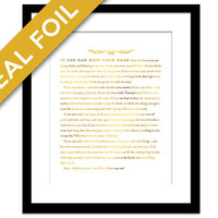 If by Rudyard Kipling - Gold Foil Art Print - Poetry Quote - Motivational Inspirational Typography Poster - Graduation Gift - Gold Quote Art