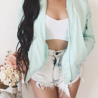 MEDIUM - Babe Bomber Jacket (TIFFANY GREEN)