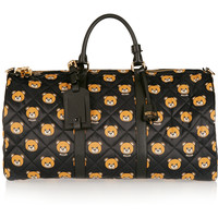 Moschino - Leather-trimmed printed quilted shell weekend bag