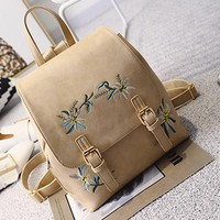 Floral Embroidered Mini Backpack -4 Color Options-
