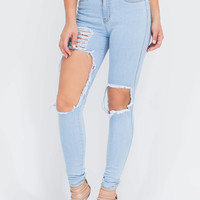 Walk Right Along Distressed Jeans