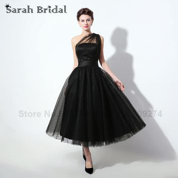 Real Photos Tulle Fabric Black Prom Dresses Tea-Length Handwork Short Homecoming Dresses Evening Elegant vestidos de festa SD337