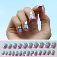 24pcs/box professional Metal Yellow Blue Silver False Nails Art Acrylic Fake Nail Personality art photo Full Cover Nail P01