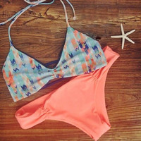 New Arrival Beach Summer Swimsuit Hot Spaghetti Strap Stylish Print Sexy Swimwear Bikini [4914738884]