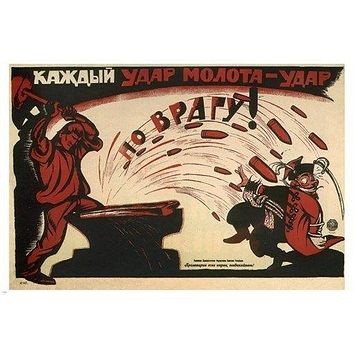 STRIKE against the ENEMY vintage war poster DENISOV SOVIET UNION1920 24X36