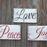 Holiday Decor Signage Christmas Sign Christmas Decor Peace Indoor Outdoor Home Decor Reclaimed Wood Rustic SIgn Gift Painted Wood Sign Red