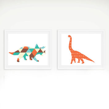 Dinosaur Tribal Art Print Set - Children's Wall Art - Toddler Room Decor - Dinosaur Art - Set of 2