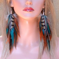 Long Feather Earrings Woodlands Feather Earrings by wildspirits