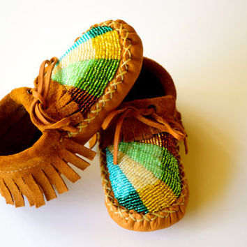 Soft Sole Baby & Toddler Moccasins with Beading and Ankle Tie