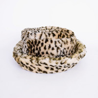 Leopard Hat Leopard Print Hat Faux Fur Hat Plush Fur Bowler Hat Bucket Hat Floppy Brim Hat 90s Hat 90s Club Kid Hat 90s Rave Hat Raver Hat