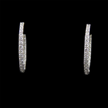 Stunning In & Out 2cttw Diamond Hoops in 14K White Gold