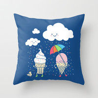 Cloudy With A Chance of Sprinkles Throw Pillow by Monica Gifford