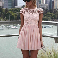 Pink Short Sleeve Lace Embroidery A-Line Pleated Mini Dress