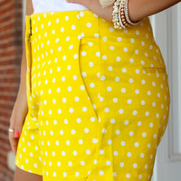 On Point Polka Dot Shorts - Yellow
